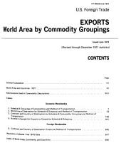 U.S. Exports. World Area by Commodity Groupings