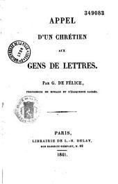 Appel d'un chrétien aux gens de lettres