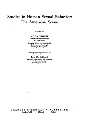 Studies in Human Sexual Behavior  the American Scene PDF