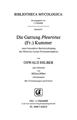 Die Gattung Pleurotus  Fr   Kummer PDF