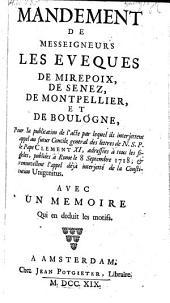 Mandement pour la publication de l'acte, par lequel ils interjettent appel au futur Concile general des lettres du Pape d.d. Rome, 8. Sept. 1718 (etc.)