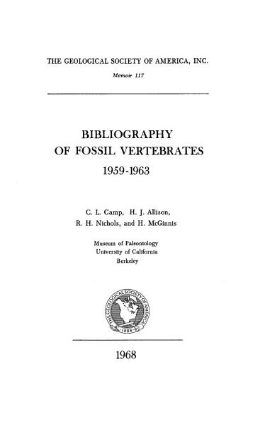 Download Bibliography of Fossil Vertebrates 1959 1963 Book