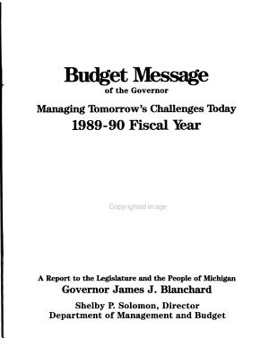 Budget Message of the Governor for the Fiscal Year     PDF