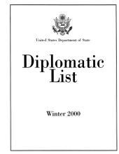 Diplomatic List: Foreign Diplomatic Staffs in the U.S., 2000