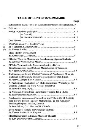 Journal of African Psychology  south of the Sahara  the Caribbean  and Afro Latin America   PDF