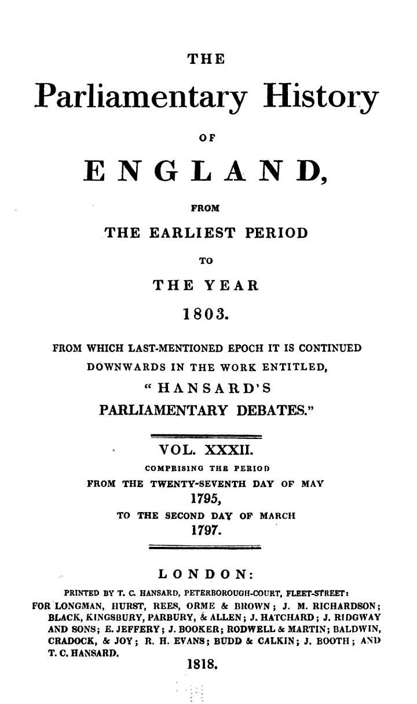 Cobbett's Parliamentary History of England