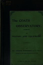 The Coats Observatory, Paisley, Its History and Equipment