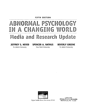 Abnormal Psychology in a Changing World PDF