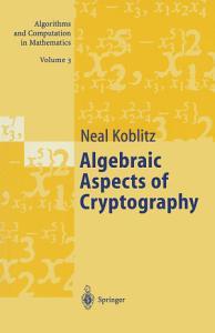 Algebraic Aspects of Cryptography PDF
