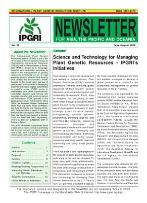 International Plant Genetic Resources Institute Newsletter