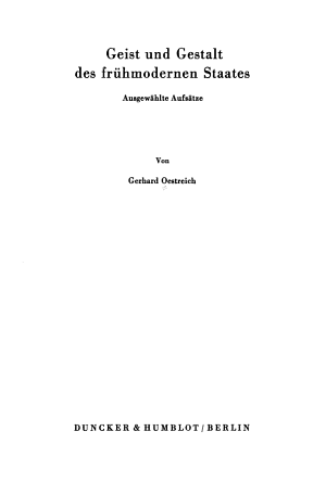 Geist und Gestalt des fr  hmodernen Staates PDF