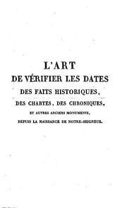 Art de Vérifier les Dates des Faits Historiques, des Inscriptions, des Chroniques et Autres Anciens Monuments