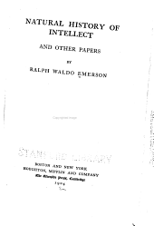 Natural History of Intellect: And Other Papers
