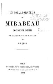Un collaborateur de Mirabeau: documents inédits