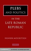 Plebs and Politics in the Late Roman Republic PDF