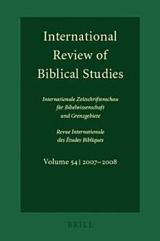 International Review of Biblical Studies   Internationale Zeitschriftenschau Fur Bibelwissenschaft Und Grenzgebiete PDF