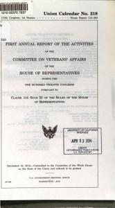 Annual Report of the Activities of the Committee on Veterans  Affairs of the House of Representatives During the     Congress