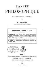 L'Annee Philosophique: Volume1;Volume1890