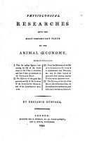Physiological Researches Into the Most Important Parts of the Animal   conomy      By Benjamin Humpage PDF
