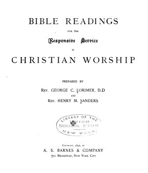 Bible Readings for the Responsive Service in Christian Worship PDF