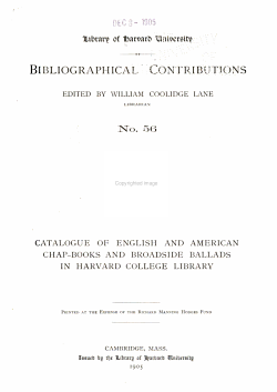 Catalogue of English and American Chapbooks and Broadside Ballads in Harvard College Library PDF