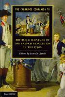 The Cambridge Companion to British Literature of the French Revolution in the 1790s PDF