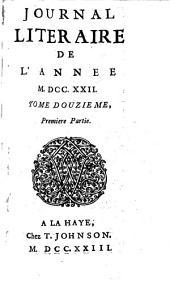 Journal littéraire: Volume12