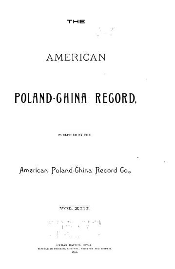 American Poland China Record PDF