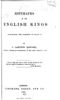 Estimates of the English Kings from William  the Conquereor  to George III  PDF