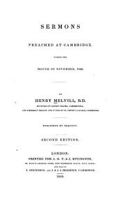 Sermons Preached at Cambridge, During the Month of November, 1839