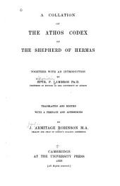 A Collation of the Athos Codex of the Shepherd of Hermas