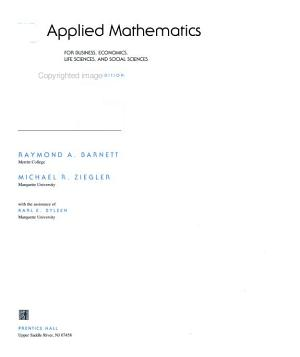 Applied Mathematics for Business  Economics  Life Sciences  and Social Sciences PDF