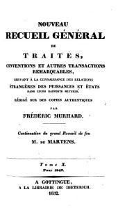 Nouveau recueil général de traités, conventions et autres transactions remarquables, servant à la connaissance des relations étrangères des puissances et états dans leurs rapports mutuels: Volume35