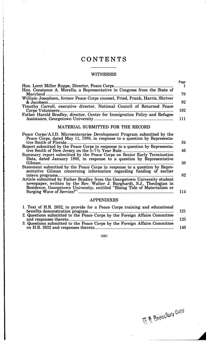 Overview of Peace Corps Programs and Activities and Review of H.R. 2632 : Hearing Before the Committee on Foreign Affairs, One Hundredth Congress, Second Session, April 26, 1988