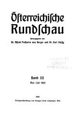 Österreichische rundschau: Band 3