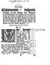 Gemaal. Ordonnantie, volgende dewelke in [...] Holland en Westvriesland [...] by collecte sal worden geheeven den impost op het gemaal [...] ingaande met den eersten ianuary 1750