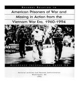 Records Relating to American Prisoners of War and Missing in Action from the Vietnam War Era  1960 1994 PDF