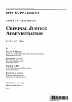 2000 Supplement to Cases and Materials on Criminal Justice Administration PDF