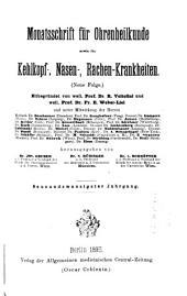 Monatsschrift für Ohrenheilkunde und Laryngo-Rhinologie: Bände 29-30