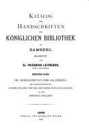 Katalog der Handschriften der K  niglichen Bibliothek zu Bamberg PDF