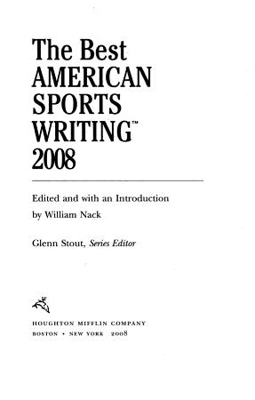 The Best American Sports Writing 2008 PDF