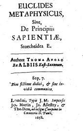 Euclides metaphysicus, sive de principiis sapientiae, stoecheidea e