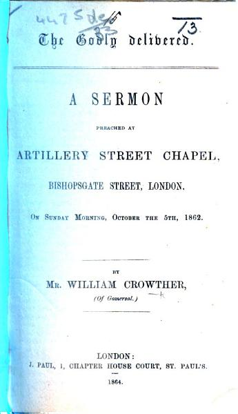 The Godly Delivered A Sermon Preached On Sunday Morning October The 5th 1862