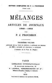 Mélanges: articles de journaux 1848 - 1852, Volume3