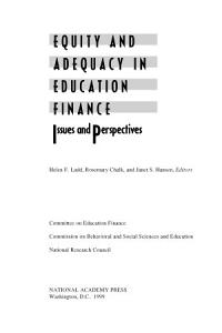 Equity and Adequacy in Education Finance Book