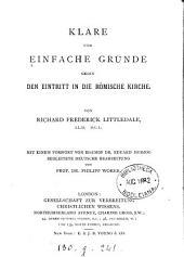 Klare und einfache Gründe gegen den Eintritt in die römische Kirche. Deutsche Bearb. von P. Woker