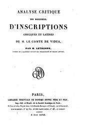 Analyse critique du recueil d'inscriptions grecques et latines de M. le Cte de Vidua