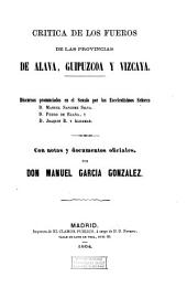 Crítica de los fueros de las provincias de Álava, Guipúzcoa y Vizcaya