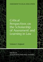 Critical Perspectives on the Scholarship of Assessment and Learning in Law PDF