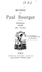 Oeuvres de Paul Bourget: poésies